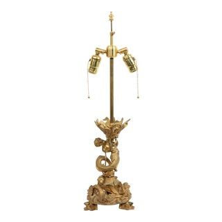 French Louis XV Bronze Dore Table Lamp For Sale