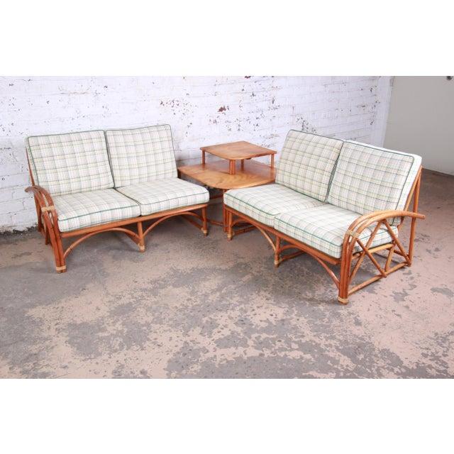 Heywood Wakefield Hollywood Regency Mid-Century Modern Rattan Sofa For Sale - Image 12 of 13
