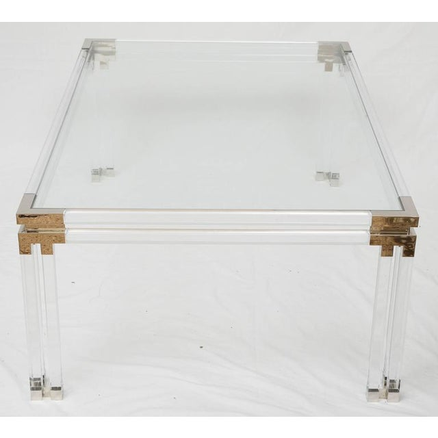 1990s Lucite and Brass Coffee Table For Sale - Image 5 of 8