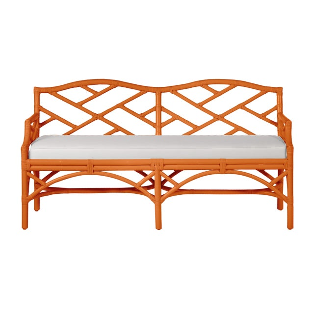 Chippendale Bench - Orange For Sale In West Palm - Image 6 of 6