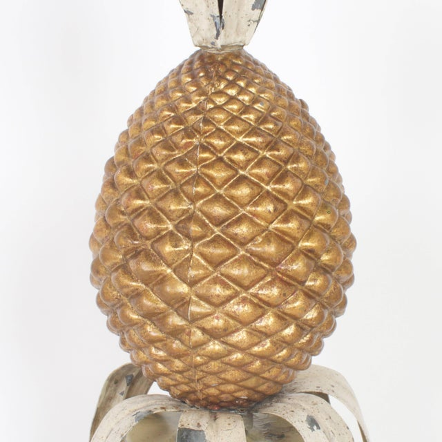 Vintage Italian Tole Pineapple Garnitures - A Pair For Sale - Image 4 of 7