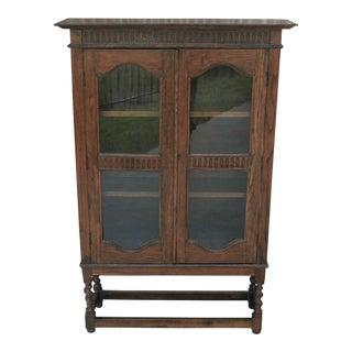 1930's Antique English Oak Barley Twist Bookcase For Sale