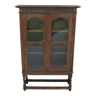 1930's Antique English Oak Barley Twist Bookcase Display Cabinet Jacobean For Sale