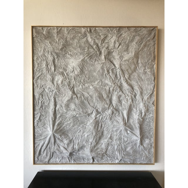 "White ""Karakoram"" Large Minimalist Mixed Media Painting For Sale - Image 8 of 9"