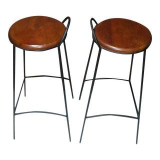 1980s Vintage Oak Bar Stools- a Pair For Sale