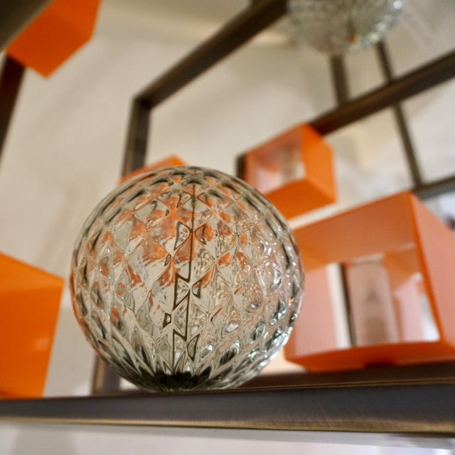 White Minimalist Bronze Brass Cubic Chandelier With Orange & White Murano Glass Cubes For Sale - Image 8 of 11