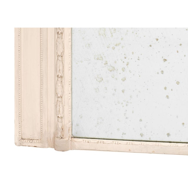 French Antique White Trumeau Mirror For Sale - Image 9 of 10