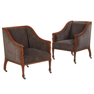 Late 1800s French Directoire Style Upholstered Armchairs - a Pair For Sale