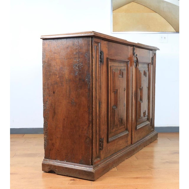 Burnt Umber Late 1800's Rustic 2 Piece Italian Cabinet For Sale - Image 8 of 13