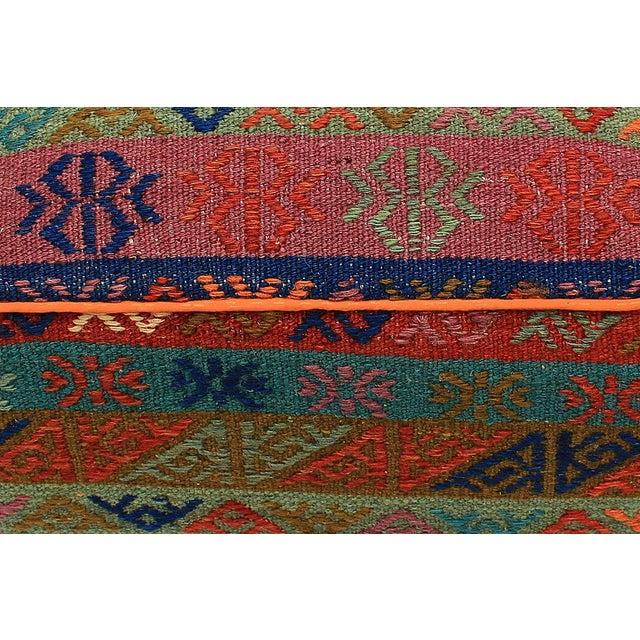 Boho Chic Hahn Orange/Green Handmade Soumakh Upholstered Ottoman For Sale In New York - Image 6 of 8