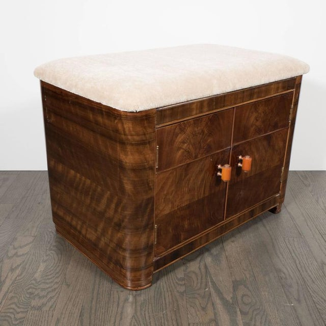Art Deco Art Deco Machine Age Storage Bench in Bookmatched Walnut and Camel Mohair For Sale - Image 3 of 10