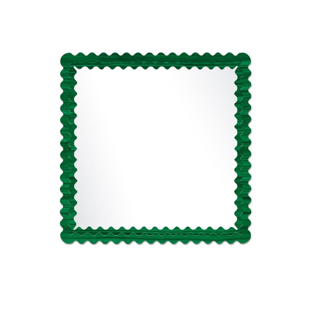 Contemporary Fleur Home x Chairish Carnival Chaos Square Mirror in Malachite, 48x48 For Sale - Image 3 of 3