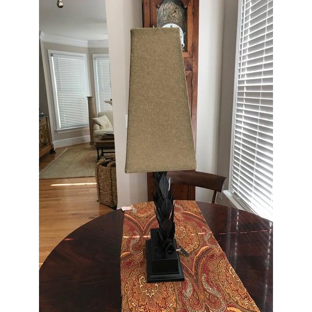"""Very Unique Metal Laurel Leaf Table Lamp. In fine working order. Metal Tag notes """"Barbara Cosgrove"""". Finial is metal..."""