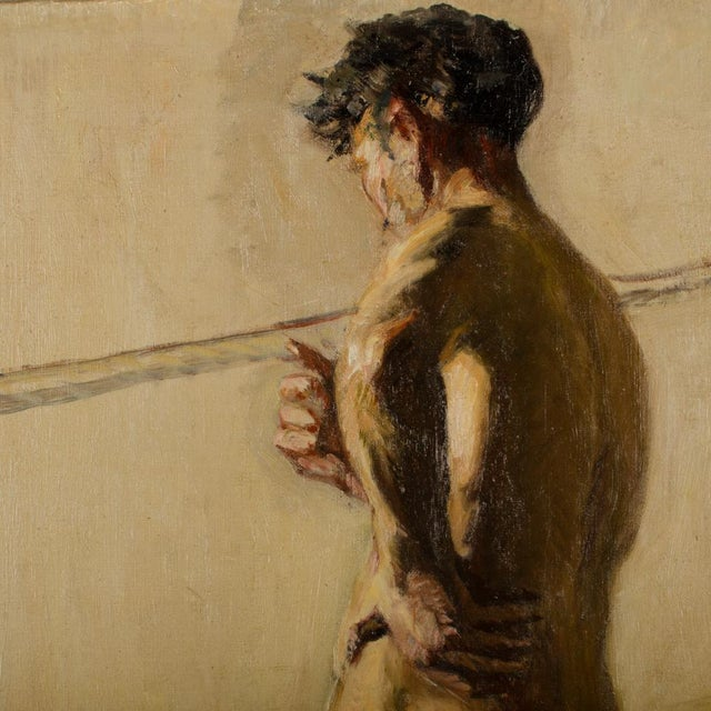 19th Century Portrait of a Nude Male Study Oil Painting by Louis Henri Revillon For Sale - Image 11 of 13