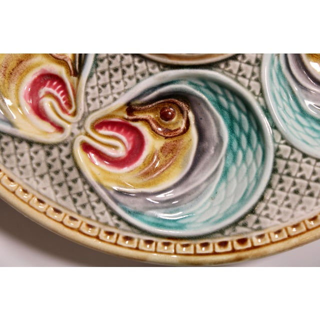 Majolica Fish Heads Oyster Plate by Onnaing, 1800s For Sale - Image 12 of 13
