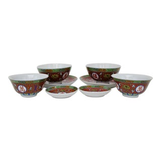 Red Mun Shou Dinnerware - Set of 8 For Sale