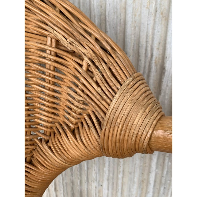 Wood Midcentury Set of Six Bamboo and Rattan Dining Room Armchairs For Sale - Image 7 of 13