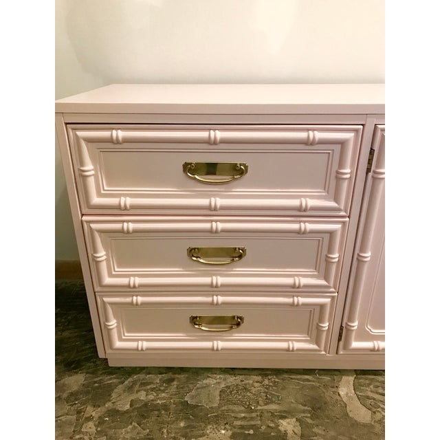 Brass Pink Lacquered Faux Bamboo Credenza For Sale - Image 7 of 8