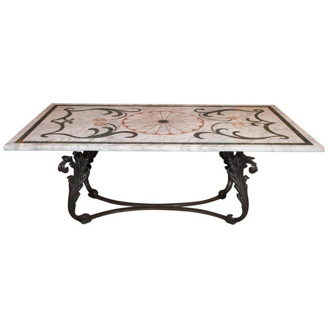 Antique Italian Mosaic Marble Table on French Iron Table Base - Image 8 of 8