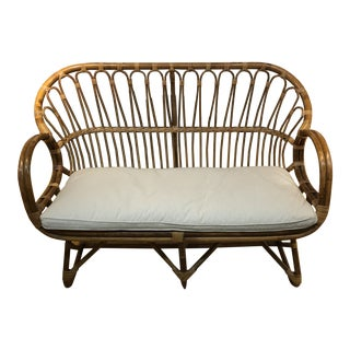 Vintage Rattan Love Seat With New Upholstery For Sale