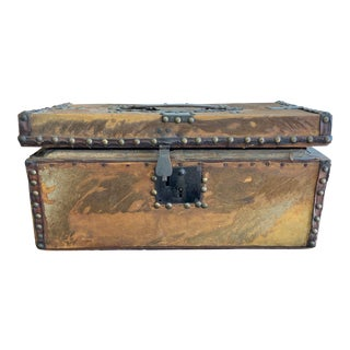 Antique Country Style Hair on Hide Trunk For Sale