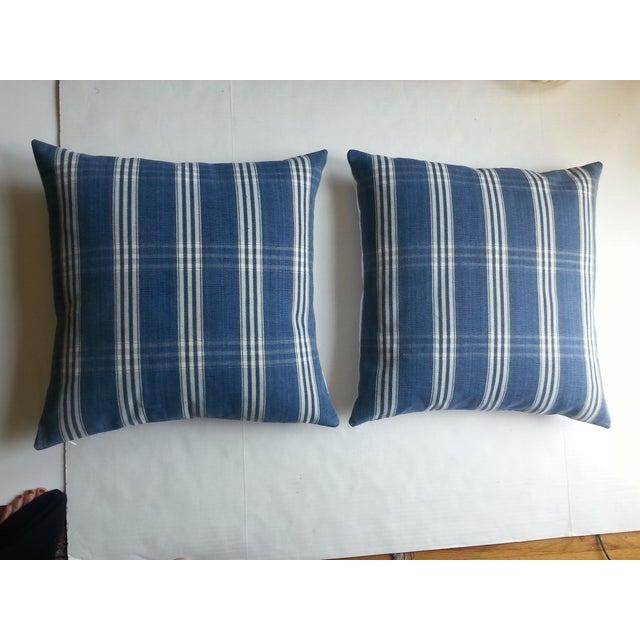 Guatemalan Blue & White Plaid Pillows - A Pair - Image 2 of 4
