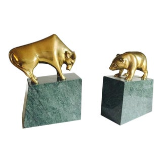 Vintage Brass & Marble Bull & Bear Bookends - A Pair