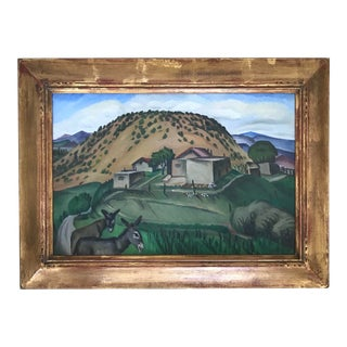 """Early 20th Century """"Santa Fe Adobes"""" Oil Painting by Beulah Stevenson, Framed For Sale"""