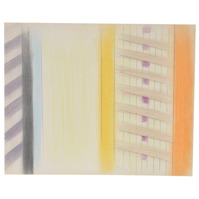 1980s Vintage Abstract Color Pencil and Graphite on Paper by John Charles Haley For Sale