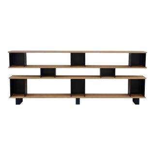 "Design Frères Low ""Horizontal"" Matte Black and Polished Oak Shelving Unit For Sale"