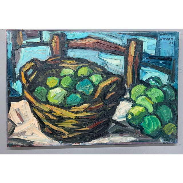 1960s Vintage Signed Oil on Canvas Still Life Painting For Sale - Image 4 of 4