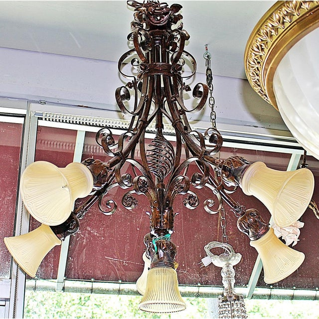 French Country Wrought Steel Chandelier For Sale - Image 4 of 8