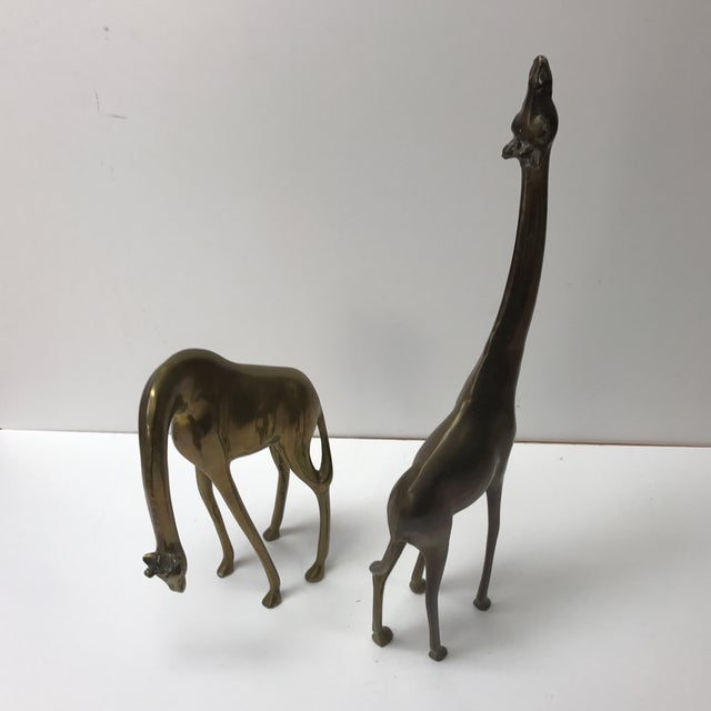 Pair of Mid-Century Modern Asian Brass Giraffes Accent Decor Animals For Sale - Image 4 of 6