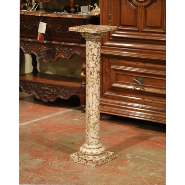 Red 19th Century French Red and Beige Marble Pedestal Column With Square Swivel Top For Sale - Image 8 of 8