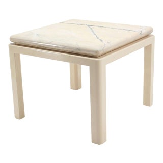 Thick Marble-Top and Enameled Metal Base Midcentury Modern Game or Dining Table For Sale