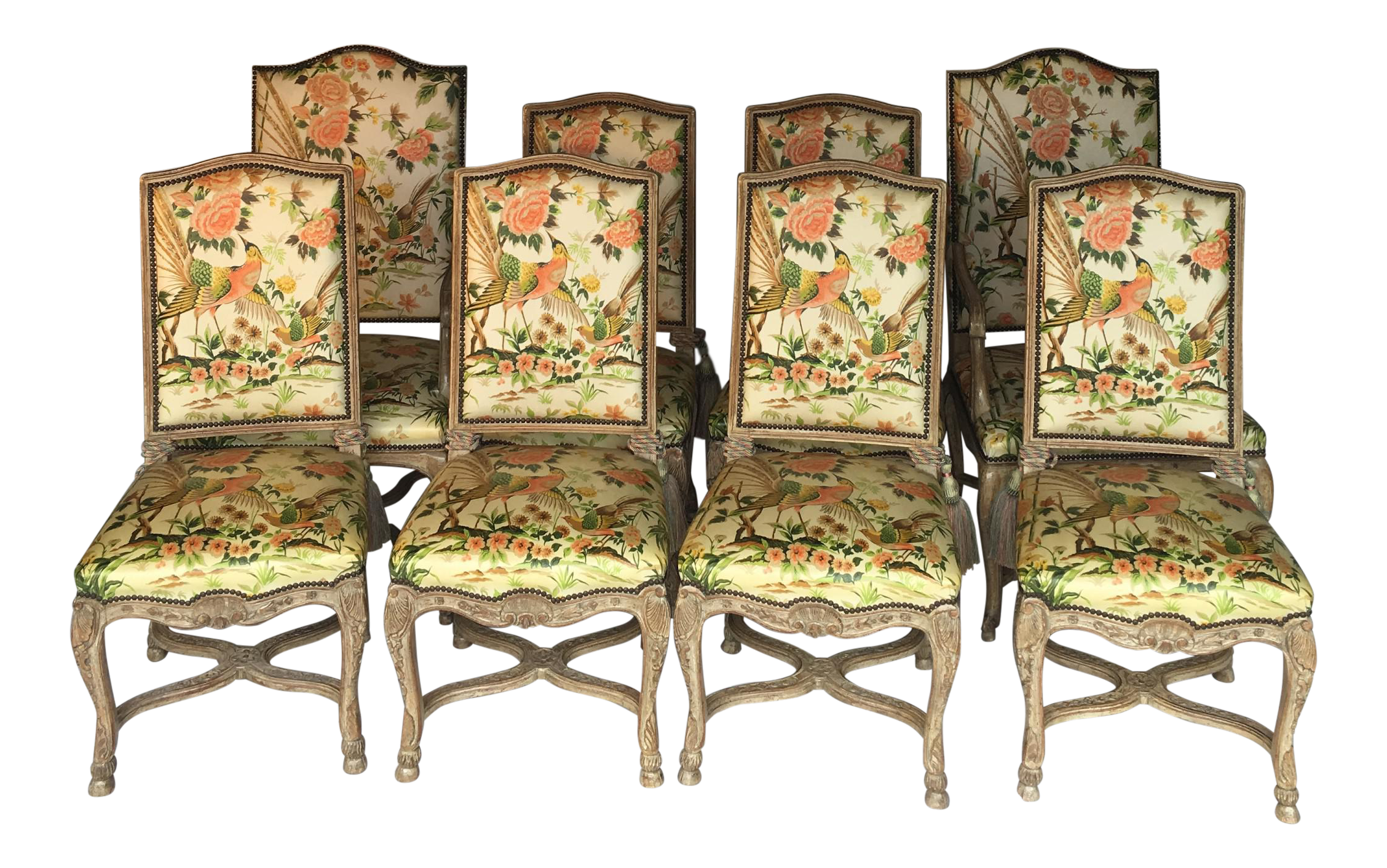 French Louis XV Walnut Dining Chairs   Set Of 8
