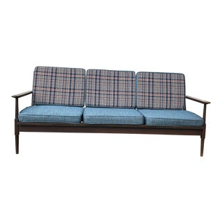 Mid Century Modern Plaid Cushion Walnut Sofa For Sale