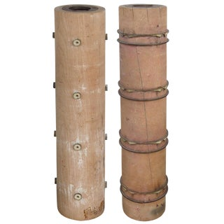 French Wallpaper Rollers for Table Lamp Bases - a Pair