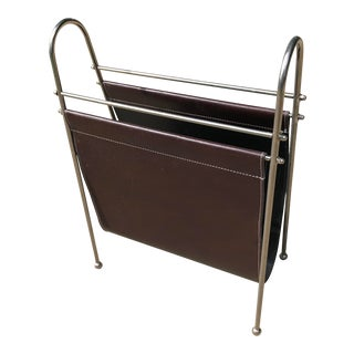 Mid-Century Milo Baughman Style Leather Magazine Rack For Sale