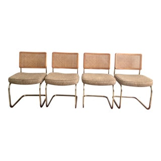 Mid-Century Modern Cane Back Cantilever Dining Chairs - Set of 4