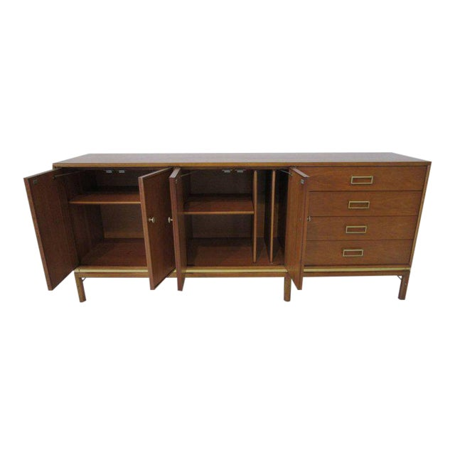 Kip Stewart Mid-Century Mahogany and Brass Server or Sideboard for Drexel For Sale