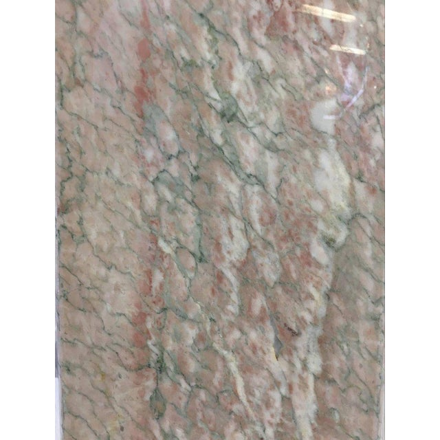 Marble Hexagonal Shape Polished Blush Pink Marble Pedestal For Sale - Image 7 of 8
