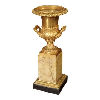Antique Mercury Gilded Bronze Medici Vase on Toscana Marble Base For Sale