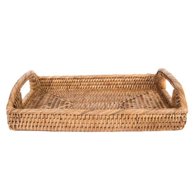 Boho Chic Artifacts Rattan Rectangular Tray For Sale - Image 3 of 5