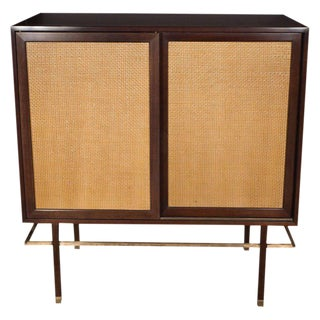 Mid-Century Modern Brass, Walnut and Cane Cabinet by Harvey Probber For Sale