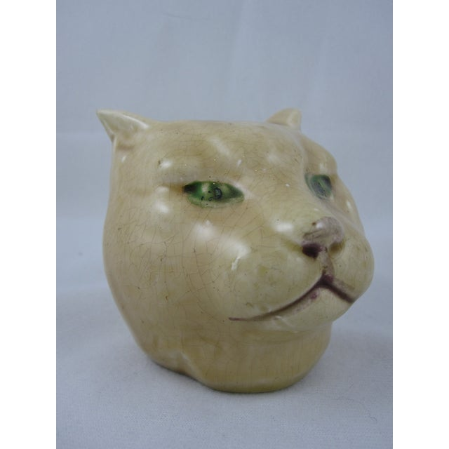 Antique French Orchies Majolica Cat Head Bank - Image 2 of 8