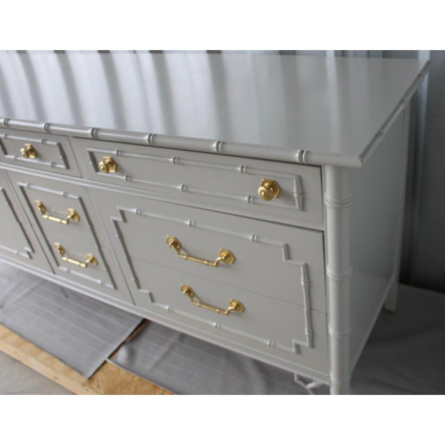 Thomasville Professionally Lacquered Vintage Thomasville Allegro Faux Bamboo Chinoiserie Dresser For Sale - Image 4 of 11