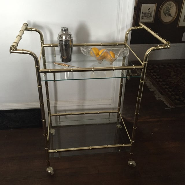 Hollywood Regency Brass Faux Bamboo & Glass Rolling Bar Cart - Image 11 of 11