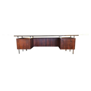 Mid-Century Executive Desk, Marble Top For Sale
