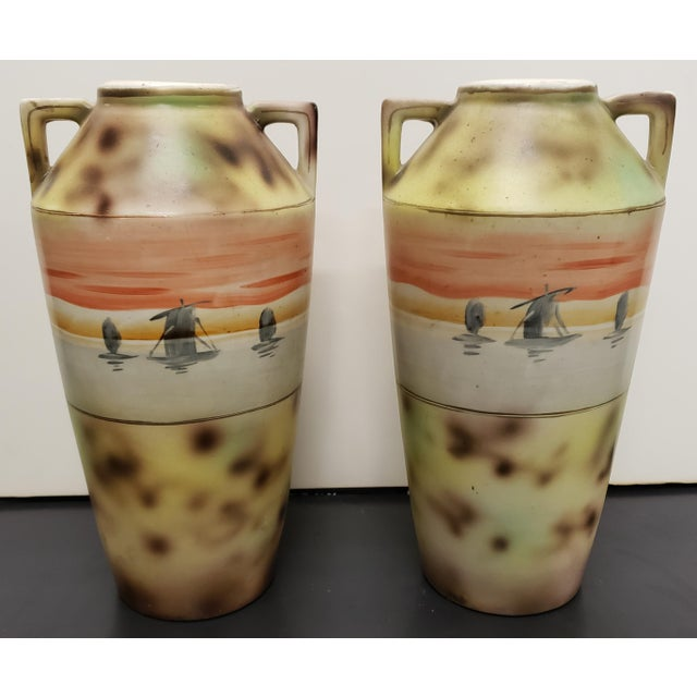 Circa 1910 Japanese Royal Nippon Porcelain Sailing Ship/Grapevine Motif Vases - a Pair For Sale - Image 4 of 7